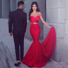Said Mhamad Red Two Pieces Prom Dresses Mermaid Sweetheart Pleated Criss Cross Sweep Train Party Wear Cheap From China