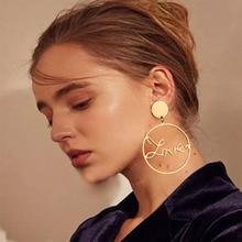 Fashion Big Circle Hollow LOVE Earrings for Women Geometric Round Bohemian Dangle 2019 Trendy Statement Jewelry WD37