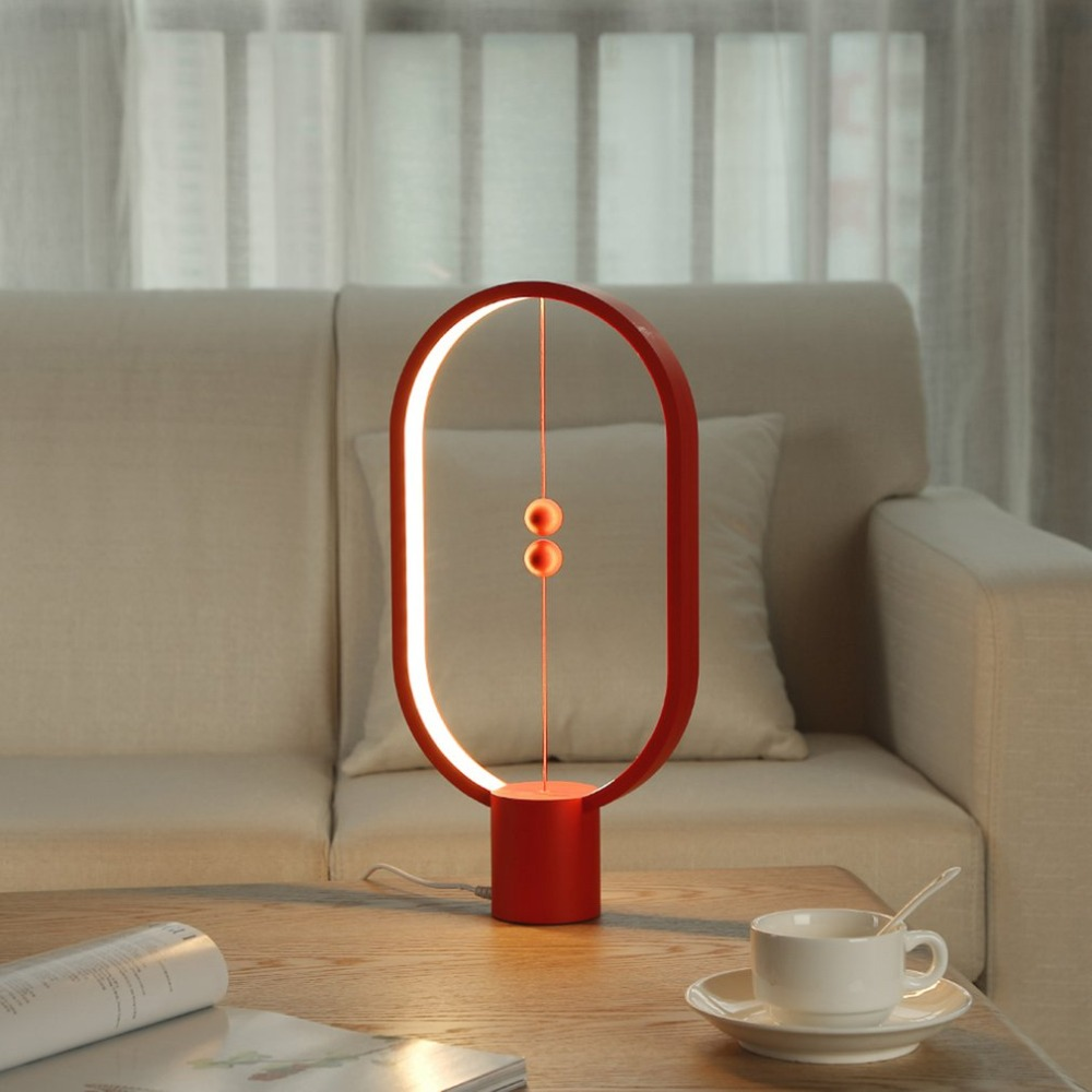 ArtPad Magnetic ON/OFF Switch LED Table Lamps For Bedroom Bedside Lighting USB Port Charge Oval Round Wooden Desk Lamp Red Black