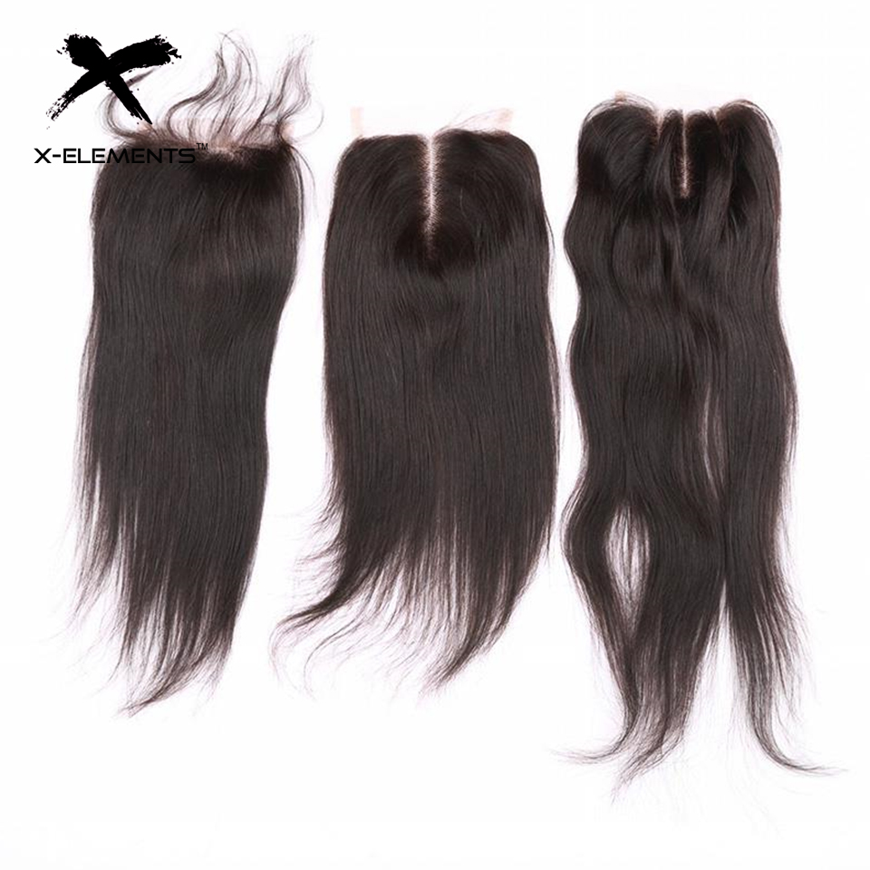 X-Elements 4 * 4 Lace Closure Brazilian Hair väver mänskliga Rak - Mänskligt hår (svart) - Foto 1