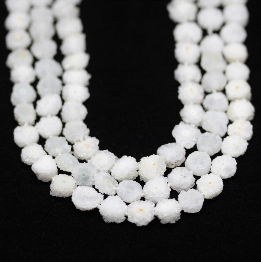 Environ 30 pièces, blanc naturel Druzy Geode dalle perles pendentif, brut Drusy Quartz tournesol forme perles collier bijoux, 10-15mm