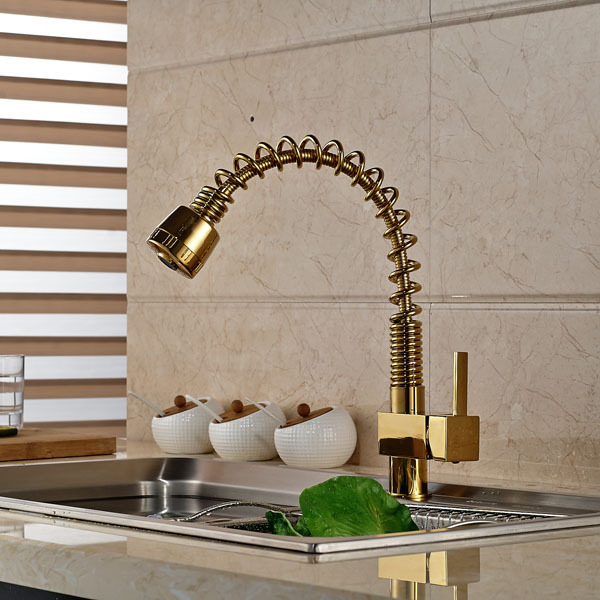 Modern Gold-plating Hot and Cold Pull Out Kitchen Sink Faucet Dual Sprayer Kitchen Mixer Faucet Deck Mounted kitchen chrome plated brass faucet single handle pull out pull down sink mixer hot and cold tap modern design