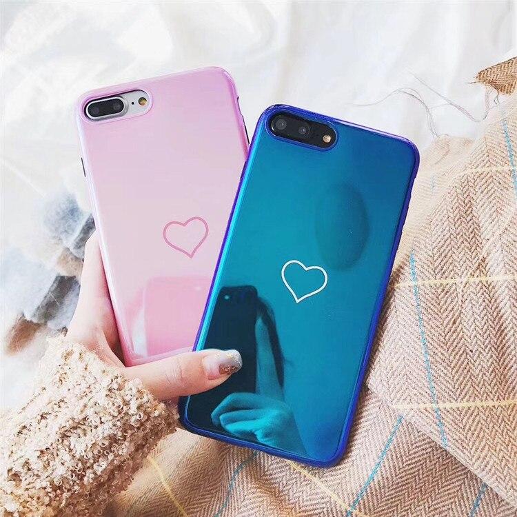 3D Hologramme Laser Miroir Cas Pour iPhone X 10 8 8 P 7 plus 6 s 6 s plus 6 plus 7 plus Cas Funda Housse de luxe Rose bleu