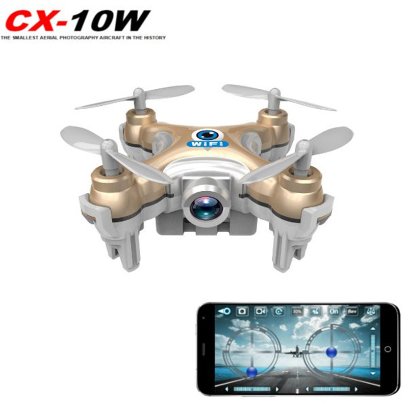 Cheerson CX-10W CX10W Mini Wifi FPV W/ 720P Camera 2.4G 4CH 6 Axle LED RC Quadcopter Support SD Card BNF VS JJRC H37 Eachine E52 cheerson cx 10wd mini wifi fpv rc quadcopter bnf gold