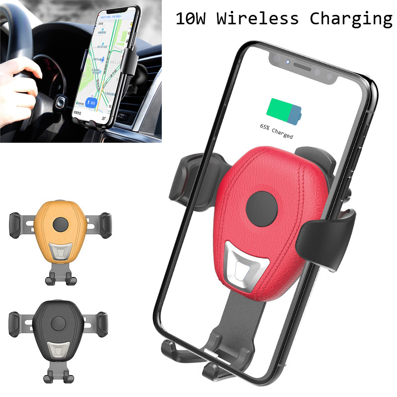 PU Leather QI Wireless Charging Car Charger for Samsung S8 S9 for Xiaomi MIX 2S Huawei Phone Holder for IPhone XS MAX XR 8 Plus