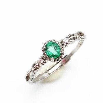 8ee1f09f2e31 Anillo elegante y clásico con anillo de Esmeralda 100% natural en plata de  ley 925 para mujer y dama como regalo de aniversario con caja