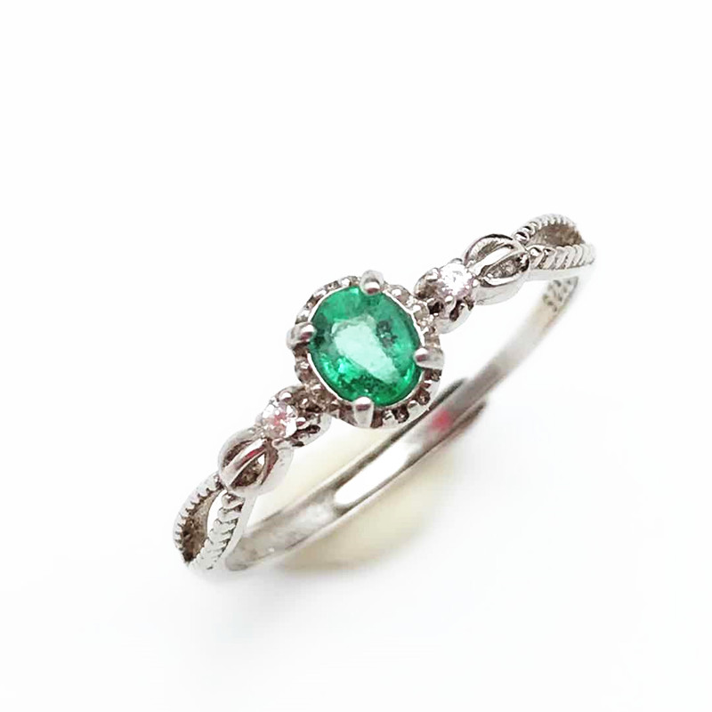 Elegant And Classic Ring With 100% Natural Emerald Ring In 925 Sterling Silver For Women& Lady As Anniversary Gift With Box
