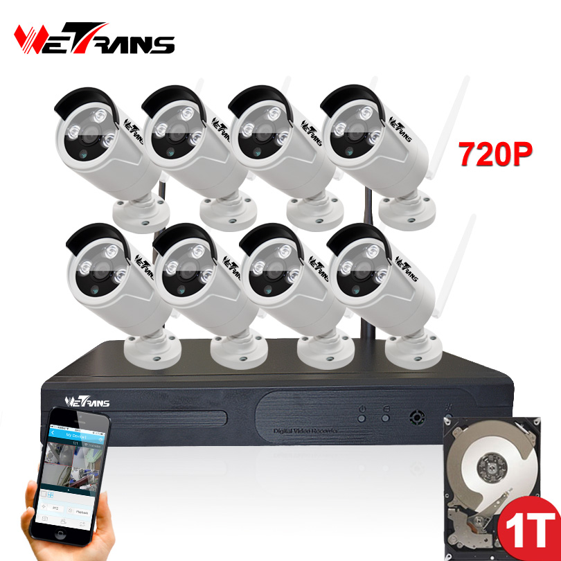 System Cctv-Camera Night-Vision Outdoor Wireless 8ch 20m Play Waterproof P2P 720P HD