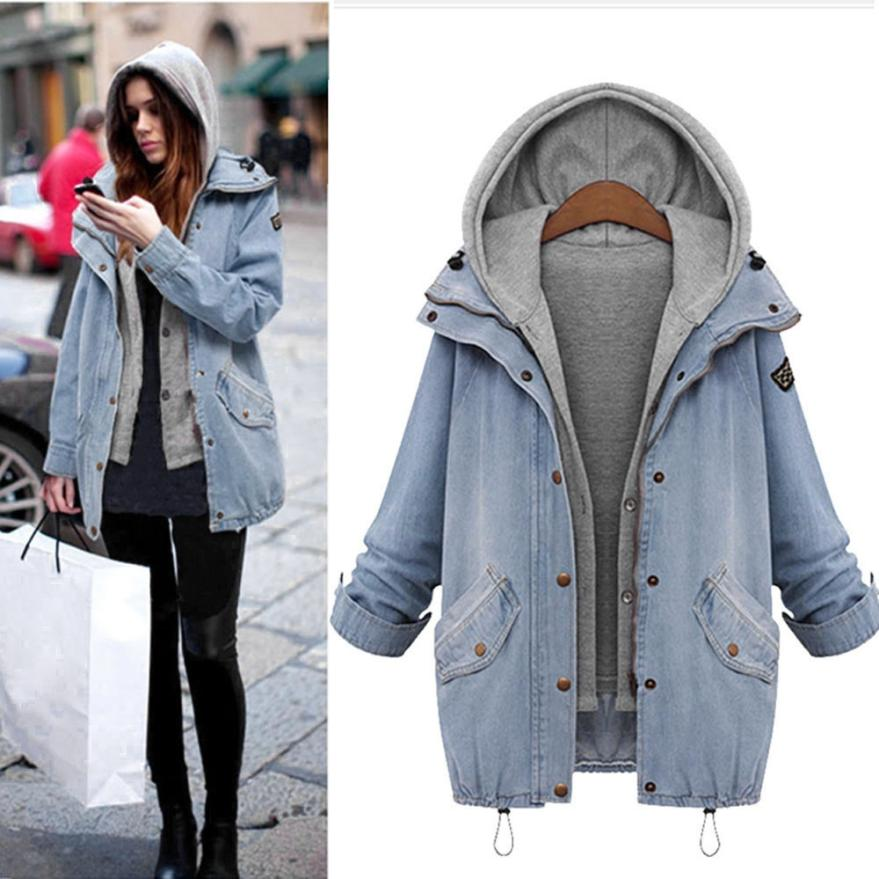 Casual 2017 Women Coat Winter Women Warm Collar Hooded Long Sleeve Coat Jacket Denim Parka Outwear TW