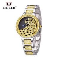 Belbi Роскошные Для женщин wrise часы Leopard наручные часы Bling женский браслет ювелирных изделий кварцевые Батарея Часы часы лучший бренд для леди