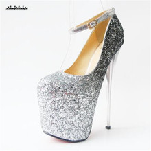 LLXF zapatos Plus:34-41 42 43 Crossdresser Nightclub Sexy 19cm High-heeled paillette Shoes woman Stiletto female Buckle Pumps