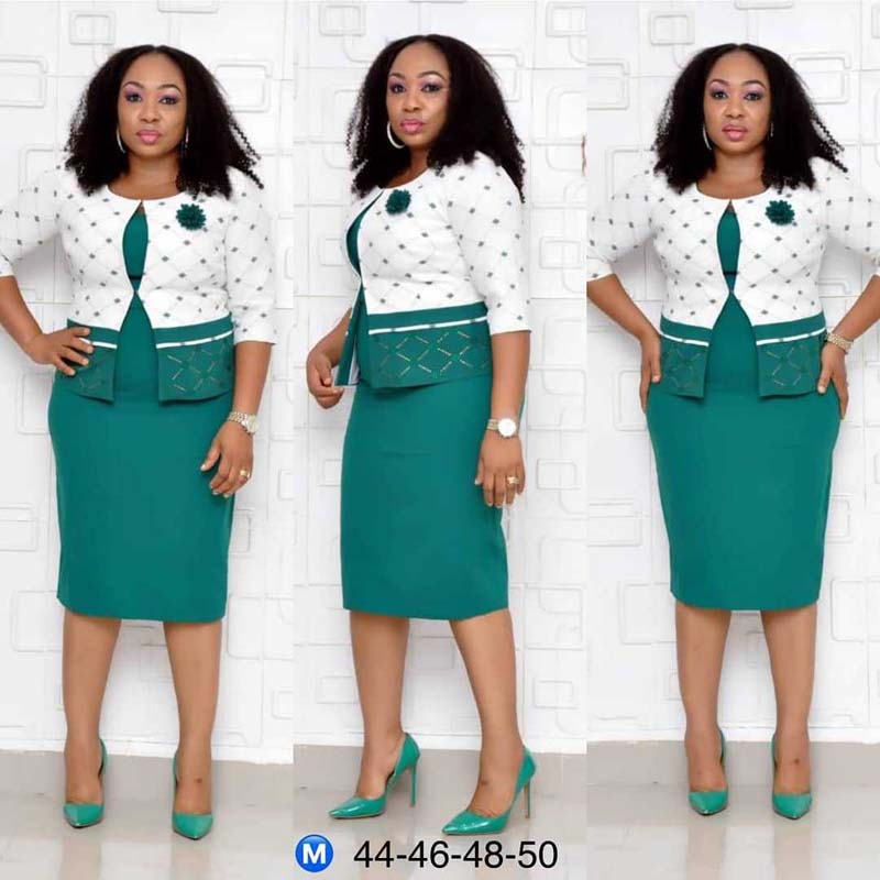 African Clothes High Quality Two Pieces Set Women Office Lady Elegant Printed Coat&Short Sleeve Bandage Pencil Dress Suits
