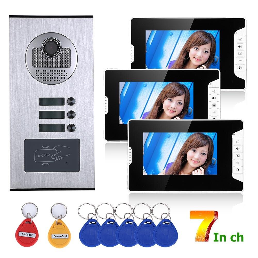 7inch 3 Apartment/Family Video Door Phone Intercom System RFID IR-CUT HD 1000TVL Camera Doorbell Camera With 3 Button