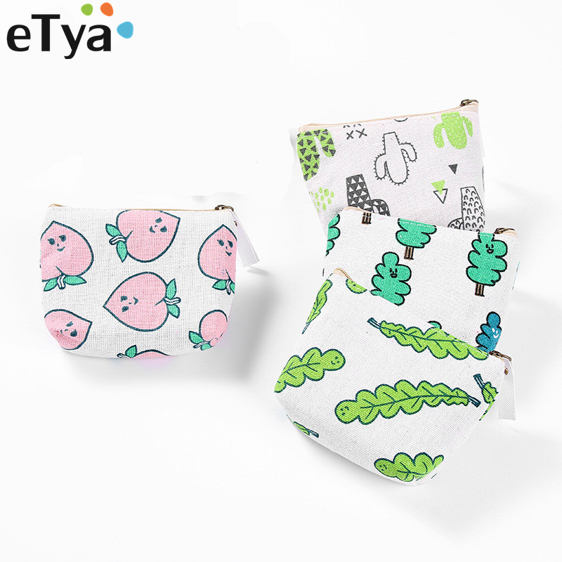 eTya Women Canvas Coin Purse Zipper Fresh Animal Plant Ladies Small Coin Wallet Case Change Key Card Mini Coin Holder Case Pouch