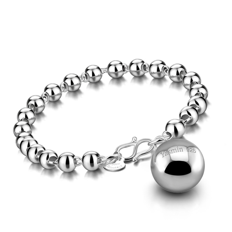 Wholesale fashion brand jewelry solid 925 sterling silver round neck bell bracelet for women simple charm girl silver jewelry