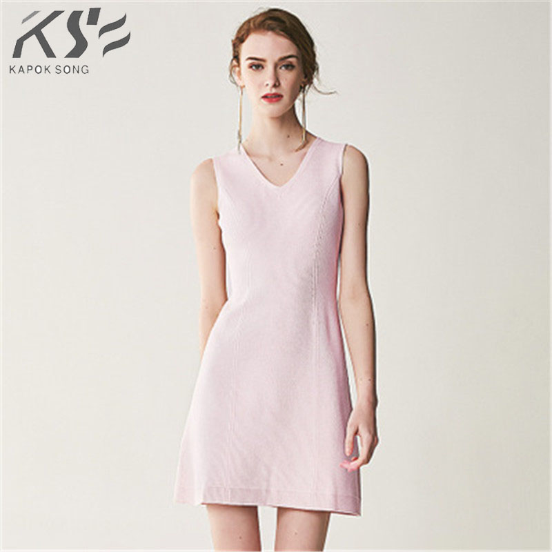 2018 Summer Autumn New seamless V collar temperament lady sleeveless knitted dress female