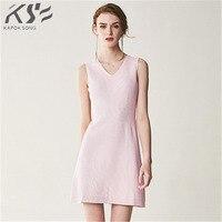 2018 Summer Autumn New seamless V collar temperament lady sleeveless knitted dress female