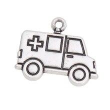 RAINXTAR aleación Vintage ambulancia forma de coche encantos médico enfermera tema joyería encantos 18*22mm AAC1053