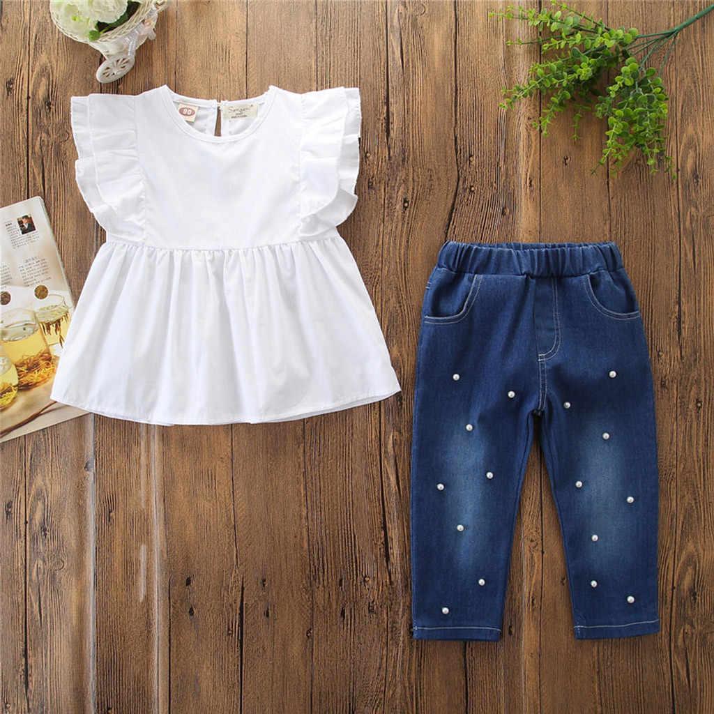 88fa5d307 ... Niño niños bebé niñas trajes de camiseta niños ropa de verano 2019 Tops  + perla Denim ...
