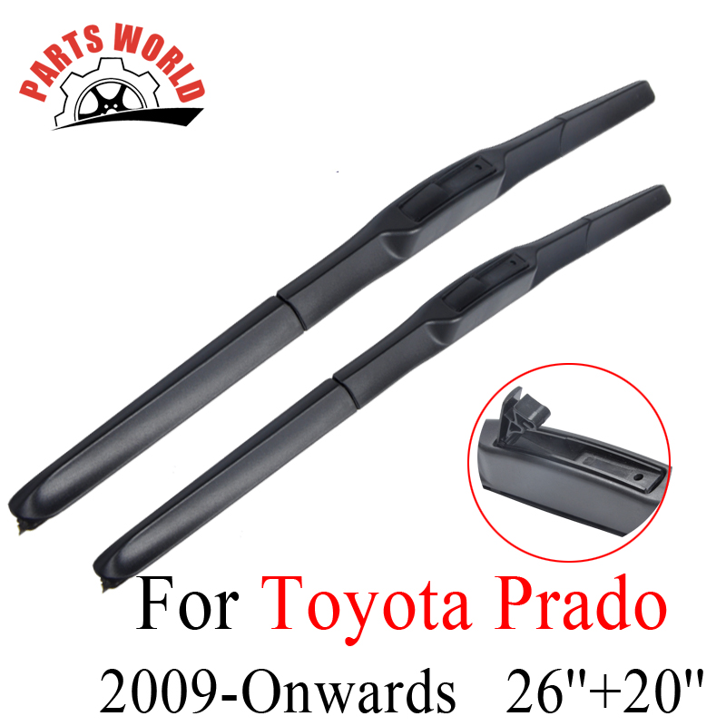Toyota Prado LC 150 2009- 앞으로 맞춤 앞 유리 천연 고무 와이퍼 액세서리 용 앞 유리 와이퍼 블레이드