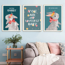 Rabbit Painting Poster Nursery Posters And Prints Kids Room Pictures Animals Canvas Wall Art Baby Unframed
