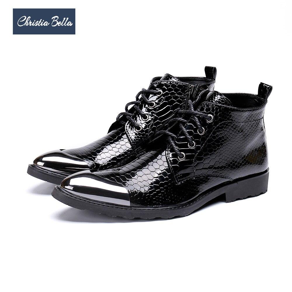 Christia bella marca botas masculinas estilo britânico rendas até botas de vestido formal festa de negócios sapatos masculinos botas de tornozelo de couro genuíno