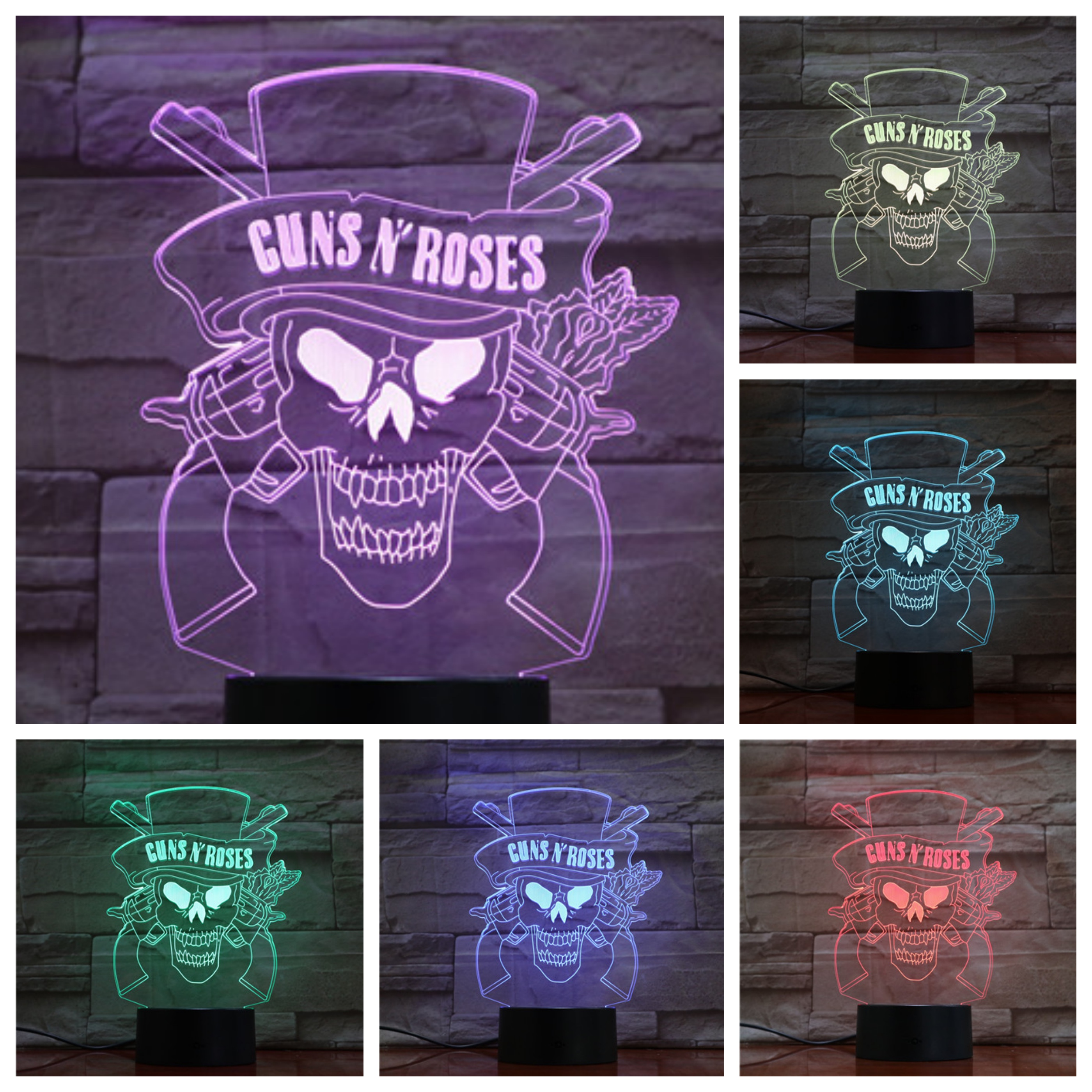 Guns N' Roses Band Usb 3d Led Night Lamp 7 Color Changing Decorative Light Gnr Boys Child Kids Baby Gifts Desk Lamp Bedroom Neon