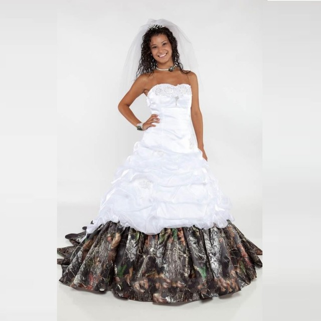 Cheap Wedding Dress For Bride 2016 Real Pictures Camouflage Formal