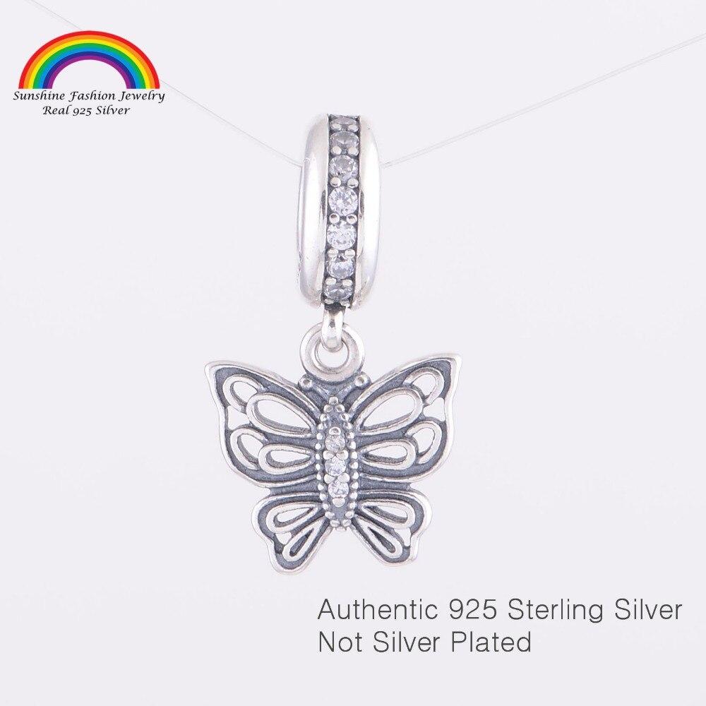 Pandulaso prata esterlina jóias Vintage Borboleta Oscila Encantos Fit para  Cadeia cobra Pulseiras para mulheres DIY Moda Jóias 3240968066e