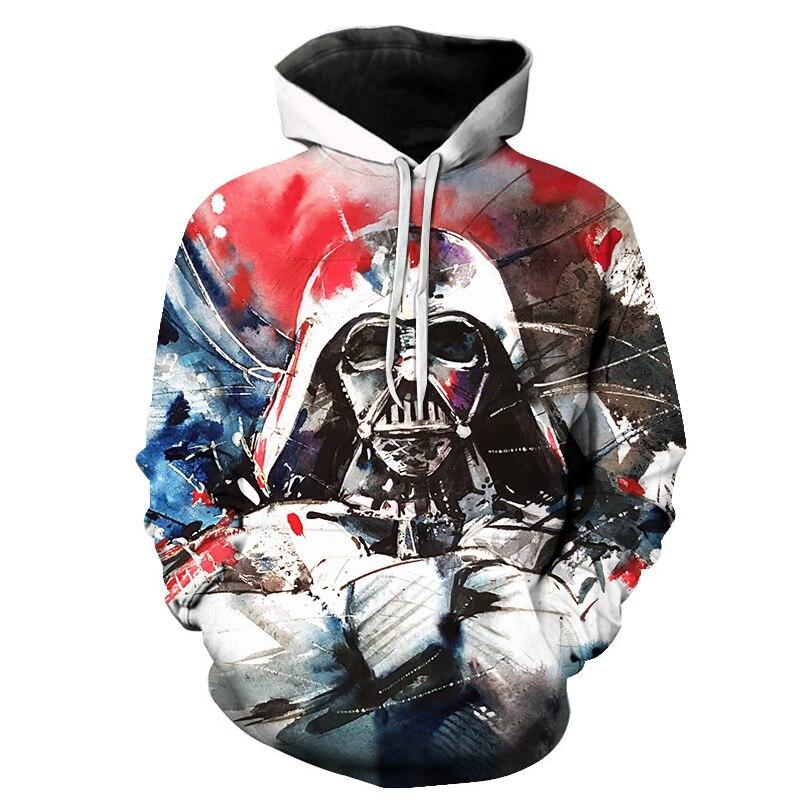 2018 Fashio New Tide Hoodie Men Long Sleeve Star Wars Print Sweatshirt Leisure 3D Hoodies Women with Cap Hoody Men Clothing