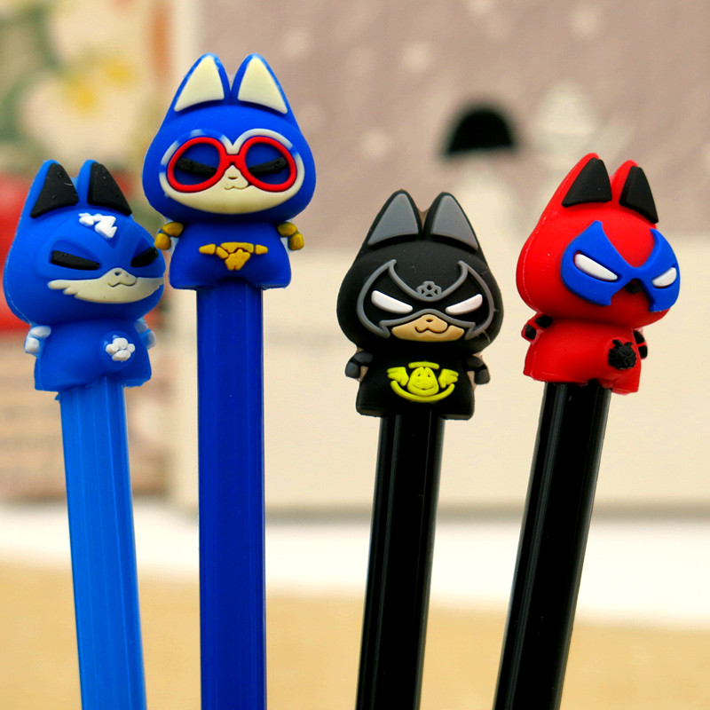 4pcs/lot Creative Hero cat gel pen 0.5mm Gift Stationery office school supplies Kawaii Decorative writing pen material 3 pcs lot new cartoon colorful owl gel pen set kawaii stationery creative gift school office supplies 04085