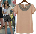 Estilo verão Chiffon blusa curta manga borboleta frisado mulheres Tops 2015 nova chegada O - Neck camisa Casual blusa feminina AE57