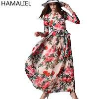 HAMALIEL Spring Summer Women Long Dress 2017 Runway Chiffon Print Flower Bow Long Sleeve Female