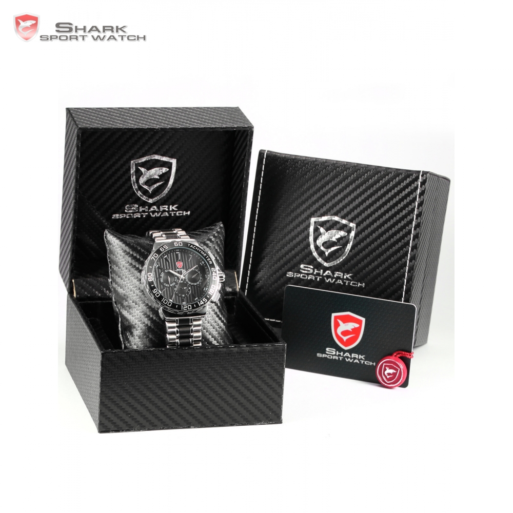 SHARK Sport Watch Silver Auto Date Dual Time Quartz Watch + Luxury Leather Gift Box