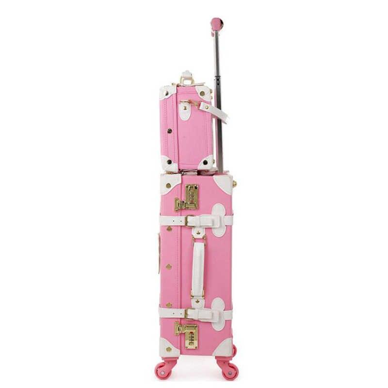 """CARRYLOVE 20 """"22"""" 24 """"hello kitty чемодан для багажа на колесиках Ретро Дорожный чемодан на колесиках коробка для девочек"""