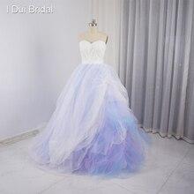 カラフルなウェディングドレス紫ピンクブルーチュールレイヤーパールビーズ高級ロマンチックな花嫁衣装リアルフォト ELS 022