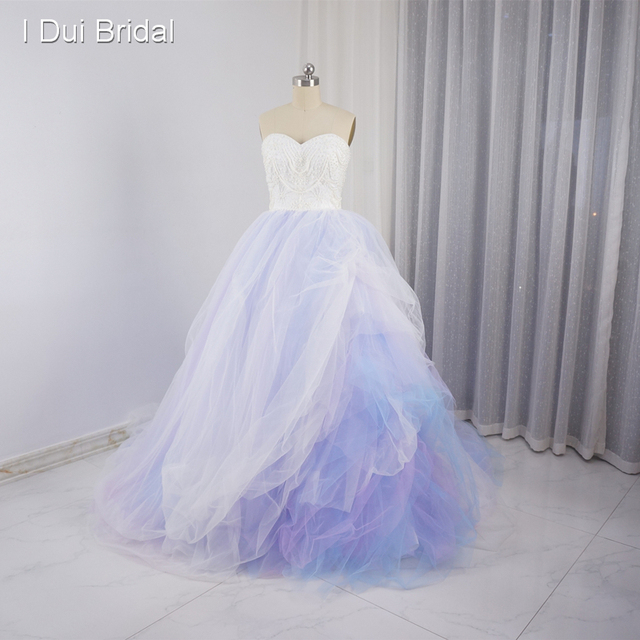 Kolorowe Suknie ślubne Fioletowy Różowy Niebieski Tiul Warstw Pearl