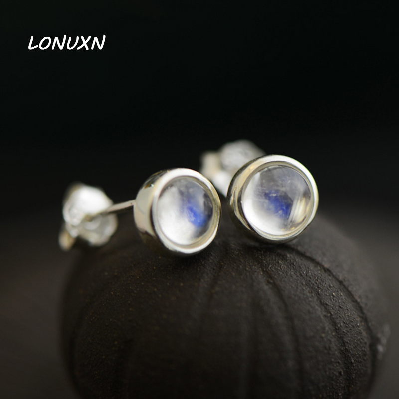 0.6cm round 925 Sterling Silver Earrings crystal Moonstone blue simple lady Natural semi precious stones Small stud Earrings