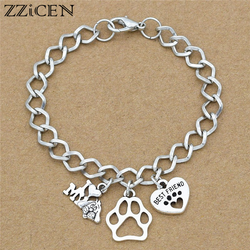 new-i-love-my-dog-best-gifts-jewelry-for-dog-lover-antique-silver-dogs-paw-love-best-friend-heart-charm-pendant-chain-bracelets