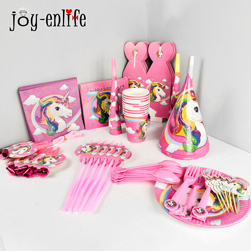 Unicornio Party Disposable Paper Cutlery Set Table Covers /Plate/Napkin/ Popcorn Cup Happy 1st Birthday Kids Party Supplies