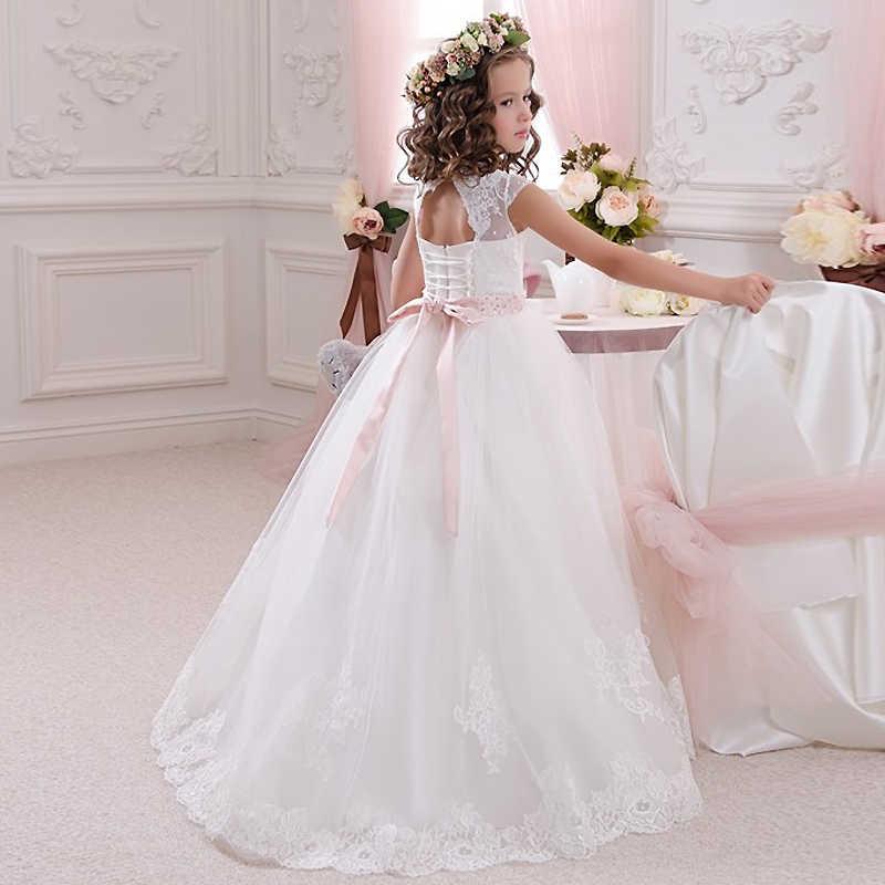 Кружево цвета слоновой кости Платья с цветочным узором для девочек бальное платье длинное платье для девочек платье для Первого Причастия платье принцессы от 2 до 14 лет