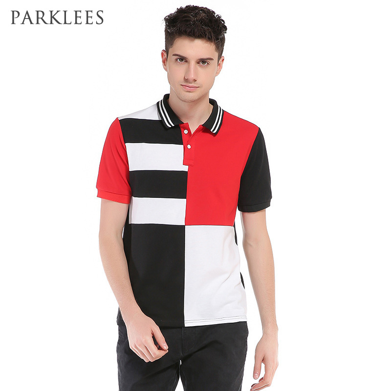 Red   Polo   Shirt Men 2017 Summer New Short Sleeve Stripe Mens   Polo   Shirt Casual Slim Fit Patchwork   Polo   Homme Cotton Camisa   Polo