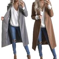 Long Sleeve Womens Ladies Solid Casual Open Stitch Women Slim Winter Warm Wool Lapel Long Coat