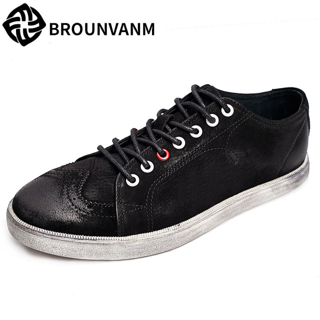 men's shoes lace Polo breathable retro shoes British version low help recreational shoes (9.5 black)