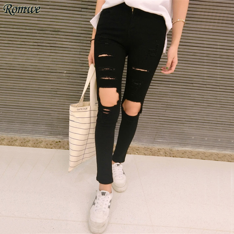 ROMWE Sexy Ripped Denim Slim Pant Black Mid Waist Skinny Casual Women Jeans Fall 2017 Fashion Button Fly Pockets Cut Out Jeans рюкзак case logic 17 3 prevailer black prev217blk mid