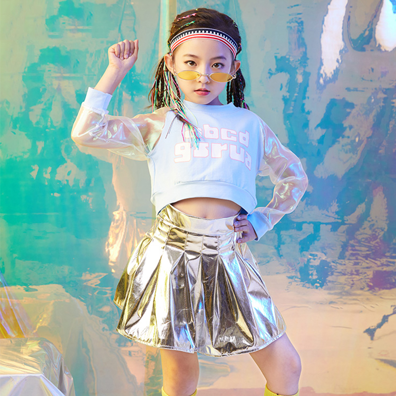 Jazz Dance Costumes Girls Long-Sleeve Top Silver Pleated Skirt Kids Hip Hop Clothing Street Dancewear Stage Show Outfit DN2774