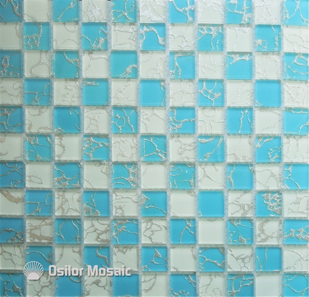 Free shipping square pattern white and blue glass and crystal mosaic ...