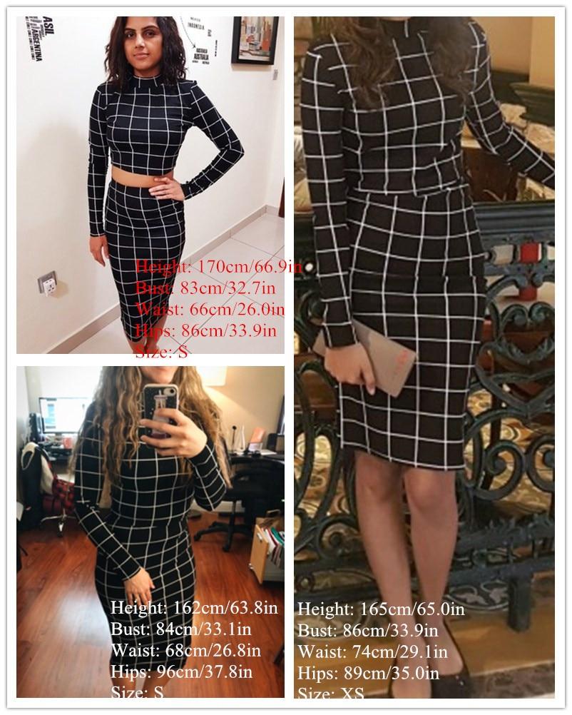 3c0917f76 Sheinside Stand Collar Long Sleeve 2 Piece Set Women Crop Grid Top & Pencil  Skirt Co-Ord Ladies Elegant OL Style Twopiece