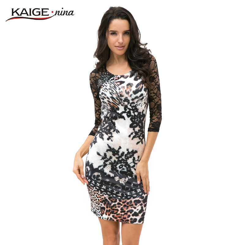 Tropical Floral Print Autumn Sexy Leopard Lace Dress Women Casual Mini Dress Half Sleeve Sheath Plus