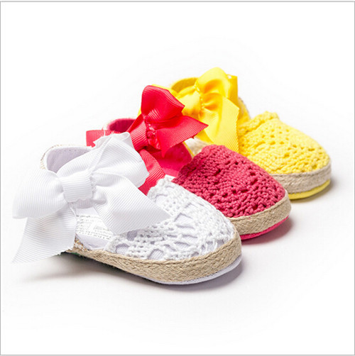 2015 Fashion Summer Baby Lace Shoes Toddler Bow Flower Shoes First Walkers Soft Sole Infants Girls Princess Shoes Freeshipping